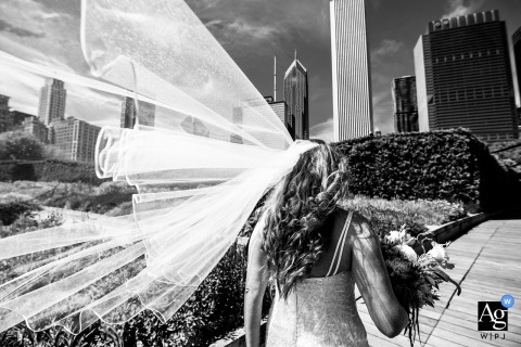 Chicago artistic wedding photography details | wedding dress with city skyline