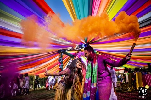 india wedding photographer | happy moment during holi' festival