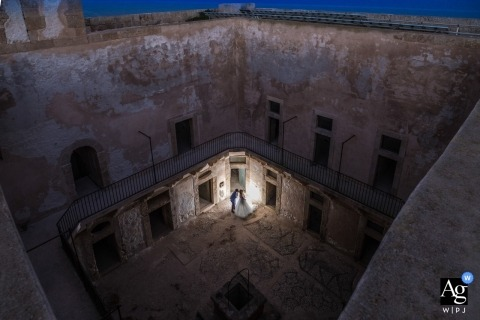 Rosolini waiting photographer | portrait of the bride and groom Alone in the castle