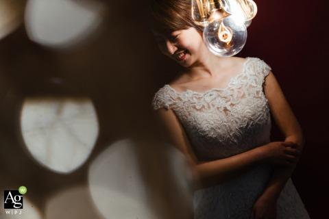 Taipei Taiwan wedding day portrait of the bride with bokeh
