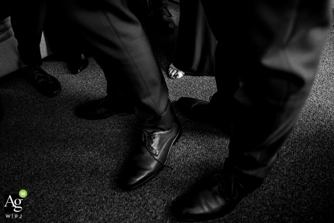 Maritime Parc, NJ wedding detail photo | Black and white image of men shoes and mom's toes