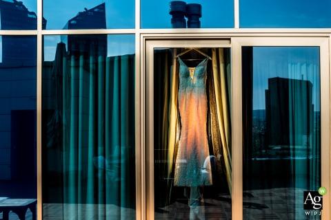 Wyndham Ankara Wedding Venue Photo | The dress hanging on the window