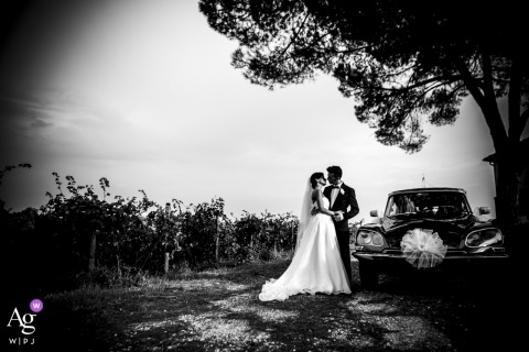 Villa Bruguier wedding portraits | bride and groom are Married ... and the black car