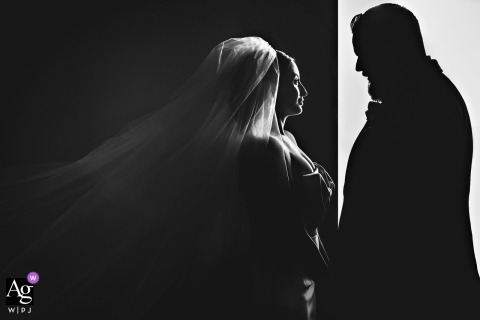 The Liberty Warehouse, Brooklyn, NY wedding photographer - Bride & groom silhouette in stark black-and-white