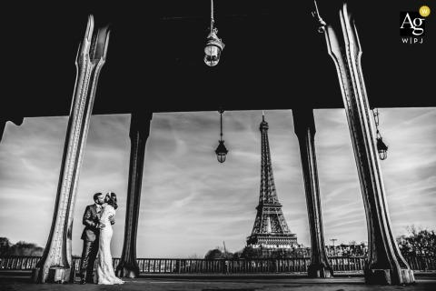 Paris - France Eiffel Tower portraits of the bride and groom - Under the bridge