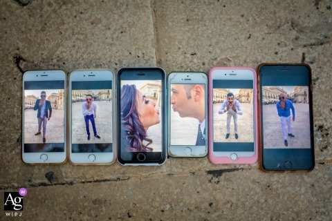 This unique image of the guests phones lined up, each displaying a member of the bridal party was captured by a Sicily wedding photographer in Il Mirto - rosolini