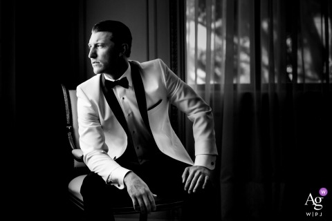 San Diego, California Wedding Photographer - Groom Portrait in Black and White