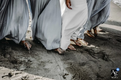 Palm Garden Wedding Photography - This detail photo of bride and bridesmaids feet walking was taken at Hoi An