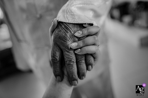 Shandong China Actual Wedding Day Photo of holding grandfathers hand