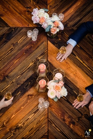 Antwerpen wedding photographer shot this overhead image of the bar at a wedding reception held at La Brugeoise