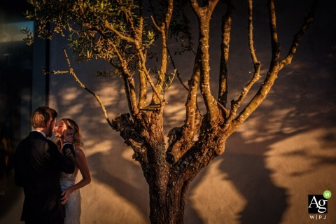 Areias do Seixo - Portugal wedding venue portrait shot | Shadow of Olive Tree with the bride and groom in this photo