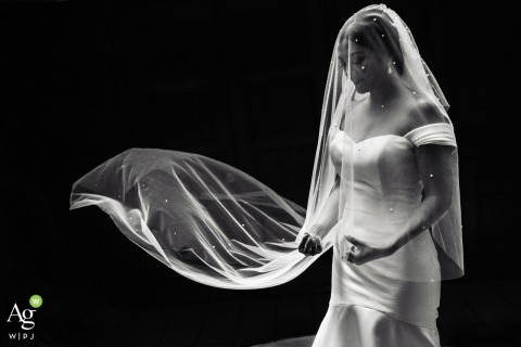 Coronado Marriott wedding venue portrait | Bride in her veil in this black and white photo