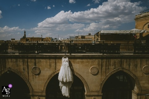 Mardin Turkey Bridal Dress Detail Shot on a historical place and landscape