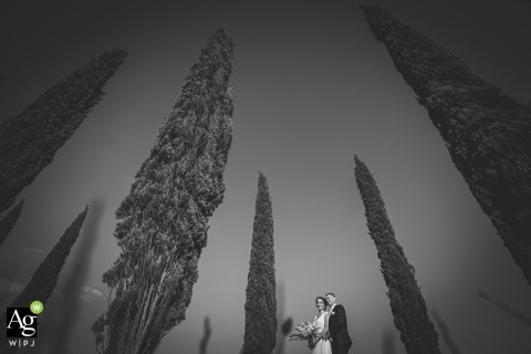 Villa il Gugnolo, Rocca d'Orcia, Siena wedding venue photo | Bride and groom are posing with the cypress in Tuscan country side