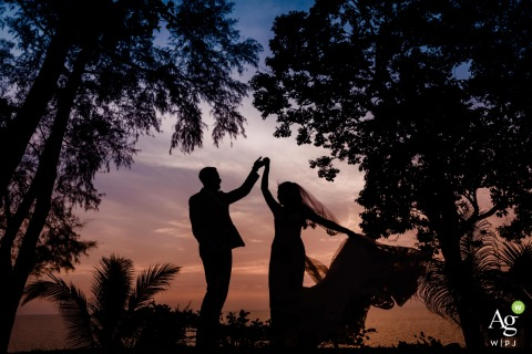 Trisara, Phuket Sunset Dance | Wedding Photo of the Bride and Groom in the Trees