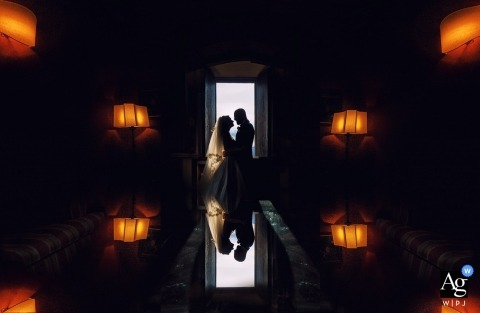 Castello di Rossino Wedding Photograph of a couple in front of window