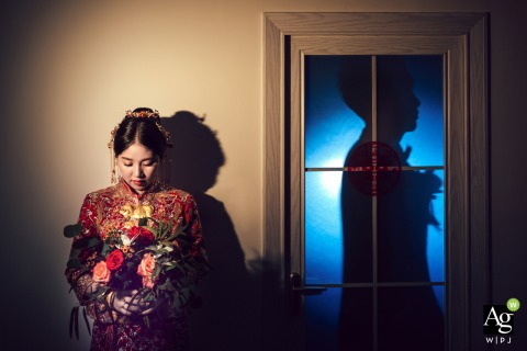 Fujian, China Wedding Day Portrait of the Bride and Groom with Silhouette and Flowers