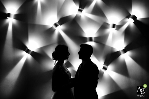 Restaurant Lebed Wedding Venue Photo | Shadows and Lights in Black and White Portrait of the Bride and Groom