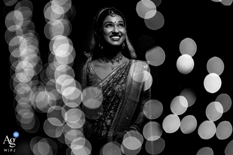Mayfair Resort Goa - black and White Portrait of the bride on the wedding day