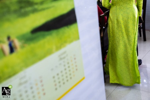 Ho Chi Minh wedding dress photo | Green Ao Dai in Vietnam