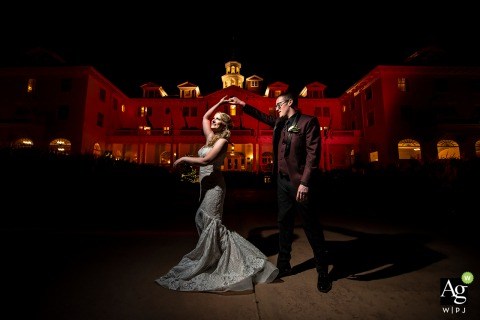 Bride and groom at the Stanley Hotel - Wedding day photography at the Venue