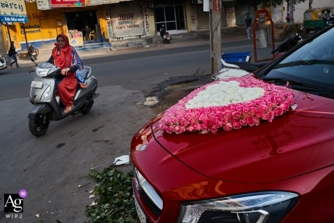 Nadiad - India Wedding Photography showing the preparing bride and groom car