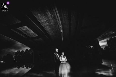 Kasiserslautern black and white wedding portrait of couple under a bridge