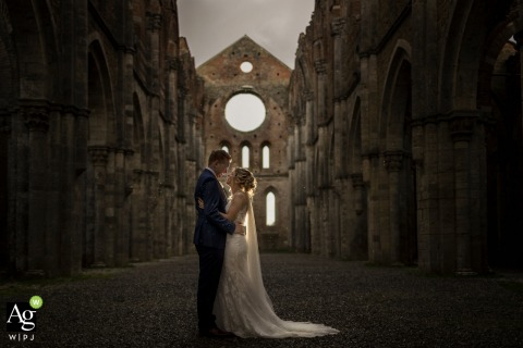 San Galgano Abbey Tuscany wedding photography | Bride and groom portrait after ceremony