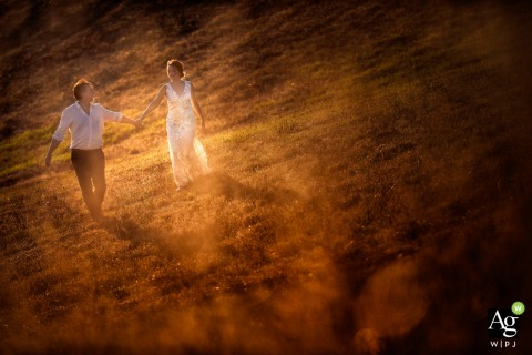 Tuscany bride and groom walking in an open field during a portrait photo session