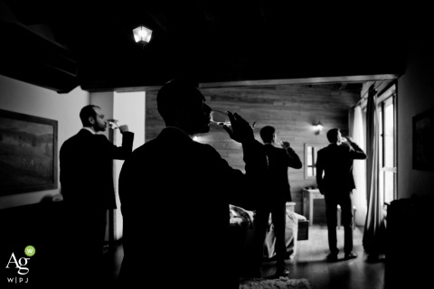 Bulgaria wedding photo - Rodopski Kyt	- The groom, the best man and his friends having a drink