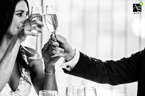 Saugerties Steamboat Co Hudson Valley NY Wedding Venue Photo | Intimate Wedding Champagne Toast for the Bride
