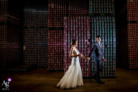 Chicago - Revolution Brewing Taproom Wedding Photo Portraits of a couple walking in a brewery