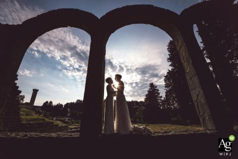 Fiesole - Villa Il Rinuccino wedding day silhouette portrait.