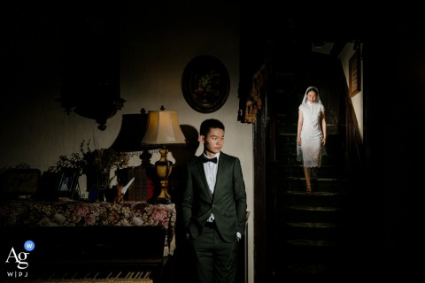 Fujian, China Bride and Groom Pose for Wedding Day Portrait