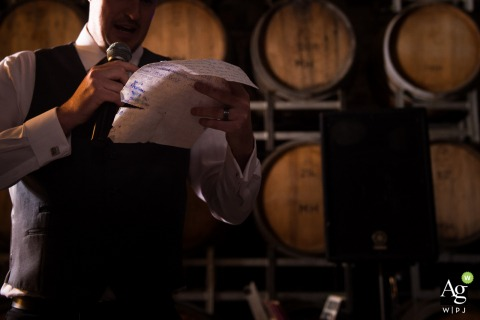 Victoria-AU wedding reception photography - Best man's speech - wine cask background