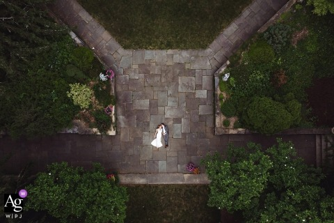 Skyland Manor Wedding Photos | Bride and groom portrait from sky using drone camera