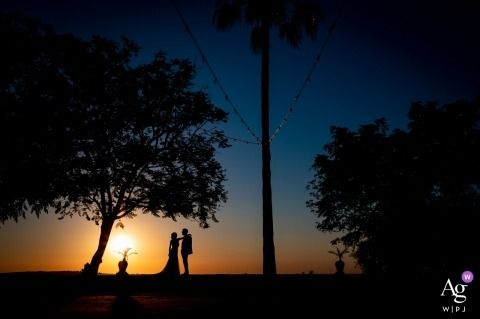 Hacienda de San Rafael, Spain Wedding Portrait of the Bride, Groom and a Spanish sunset