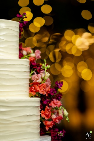 Meadowlark Atrium, Vienna VA Wedding Reception Photography | A detail of the wedding cake showcasing freesia flowers and a warm Christmas light bokeh background