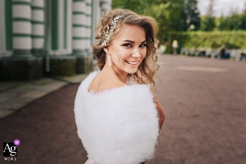 Russian wedding photographer captured this portrait of the bride on wedding day