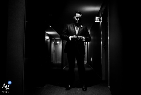 Black and white artistic wedding photograph of the groom on wedding day in Totana Murcia