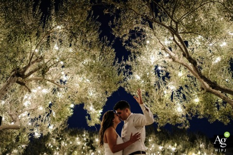 Hacienda de Leal - Mexico Wedding Venue Photo - Wedding day portrait of the bride and groom under the trees with lights in them
