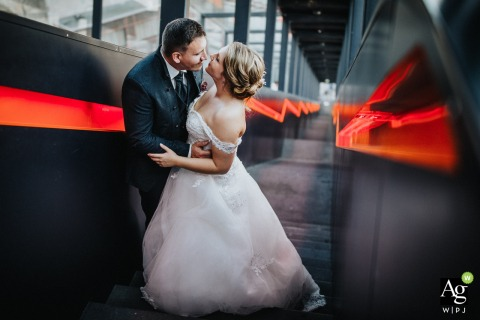 Germany	Lights Wedding Photo | Portrait of the Bride and Groom on Stairs and in Love