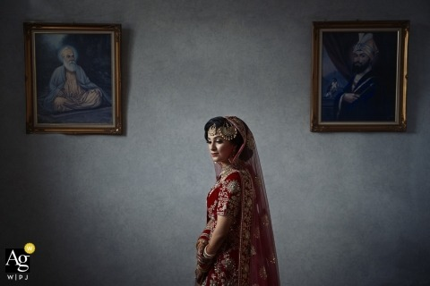 Wedding portrait of the Bride just before the ceremony at Ramgarhia Gurdwara, Birmingham, UK