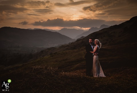 Langdale, Cumbria Bride and Groom Photography Session | Sunset and a little extra light