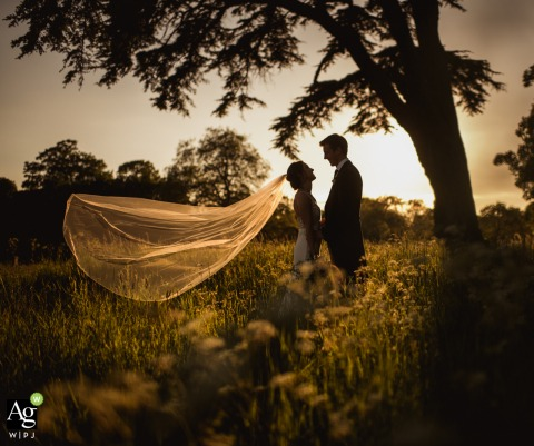 Dorset England Wedding Photographer at the Venue - St Giles House	| Sunset veil in the breeze - bride and groom portrait