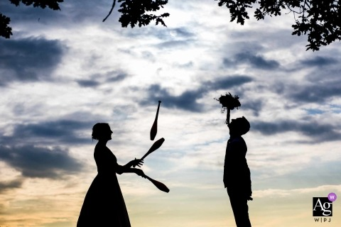 Sulgrave Manor, Oxfordshire wedding silhouette portrait of Couple Juggling