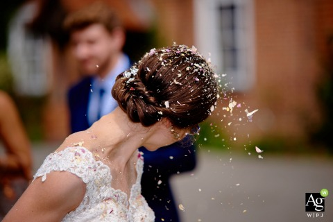 Hampshire England Wedding Reception venue photo of Confetti in the Bride's Hair