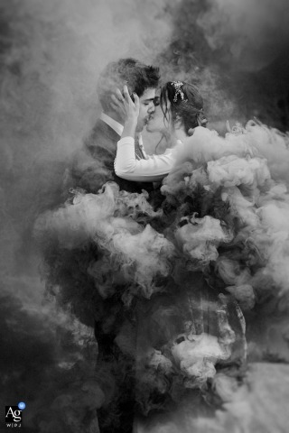 Baserri Maitea wedding image of a couple in black and white with smoke surrounding them.