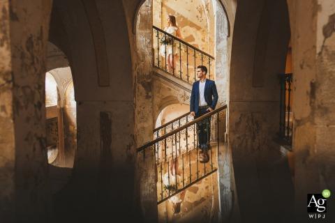 Eine Galerie von Aromen, Slowenien | Porträt der Braut und des Bräutigams mit dem Spiegelbild