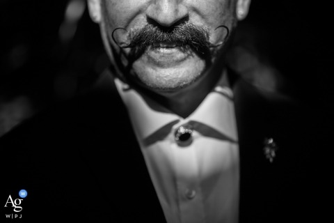 Villa Woodbine, Miami, Florida wedding detail picture of the mustache of the father of the bride
